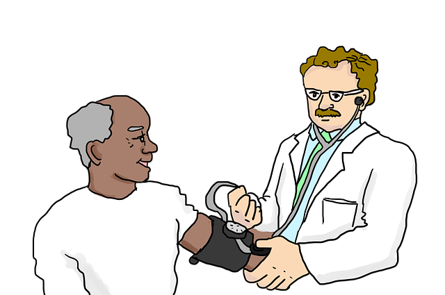 Cartoon of Doctor taking Blood Pressure